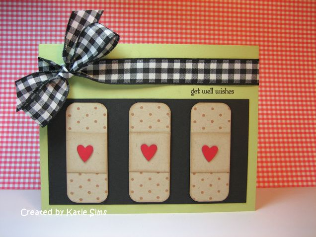 Bandaid - make with dot stamp and cut rectangles, then round the cornersCards Ideas, Bandaid Cards, Bandaids So, Felt Bandaid, Three Bandaid, Sc351Get, Diy Get Well Cards, Sc351 Get Well