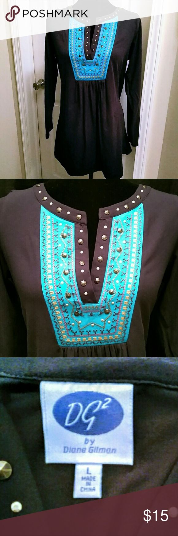 """Navy & Turquoise Tunic Top V-Neck smock tunic; studs and embroidery embellishments; measures 21.5"""" across & 30"""" length; excellent condition, wore once, maybe. Diane Gilman Tops"""