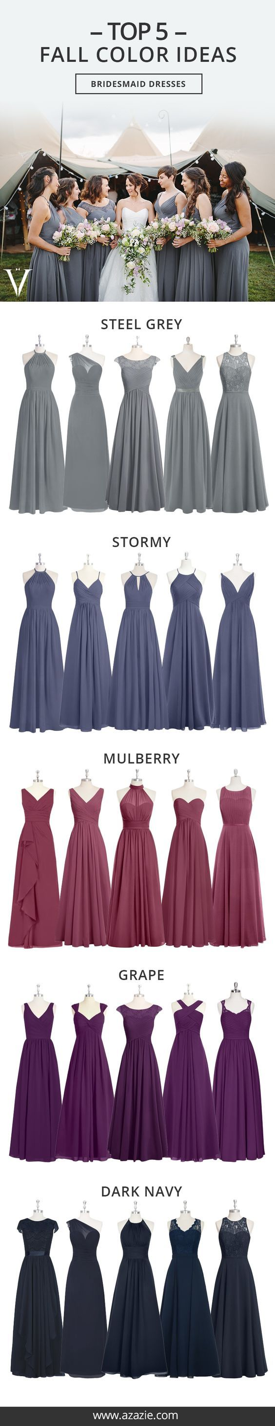 These fall colors are perfect for your bridesmaids dresses at an autumn wedding. Lovely!