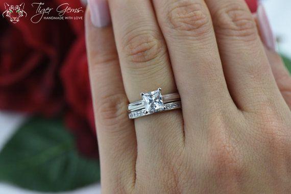 1.5 ctw Princess Cut Bridal Set Solitaire by TigerGemstones