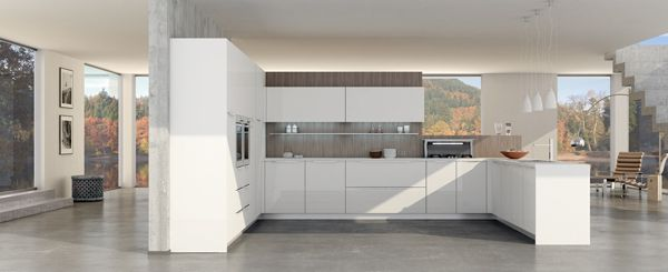 Valencia. Open Collection. Colour touches for creative geometry. Design by R&D Center. #kitchen #design #white #openspace #modern
