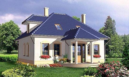 Model clasic casa cu mansarda inalta cu exterior alb si acoperis gri