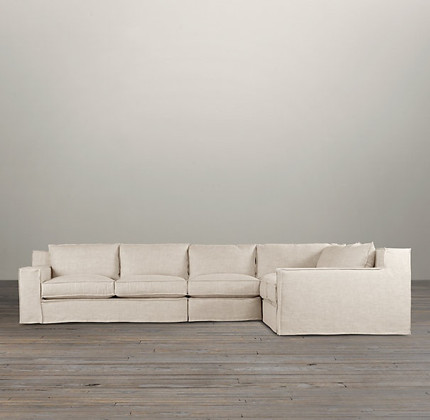 Capri Slipcovered Right Arm L Sectional Sectionals