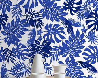Motif de feuilles aquarelle tropical fond décran par WallfloraShop