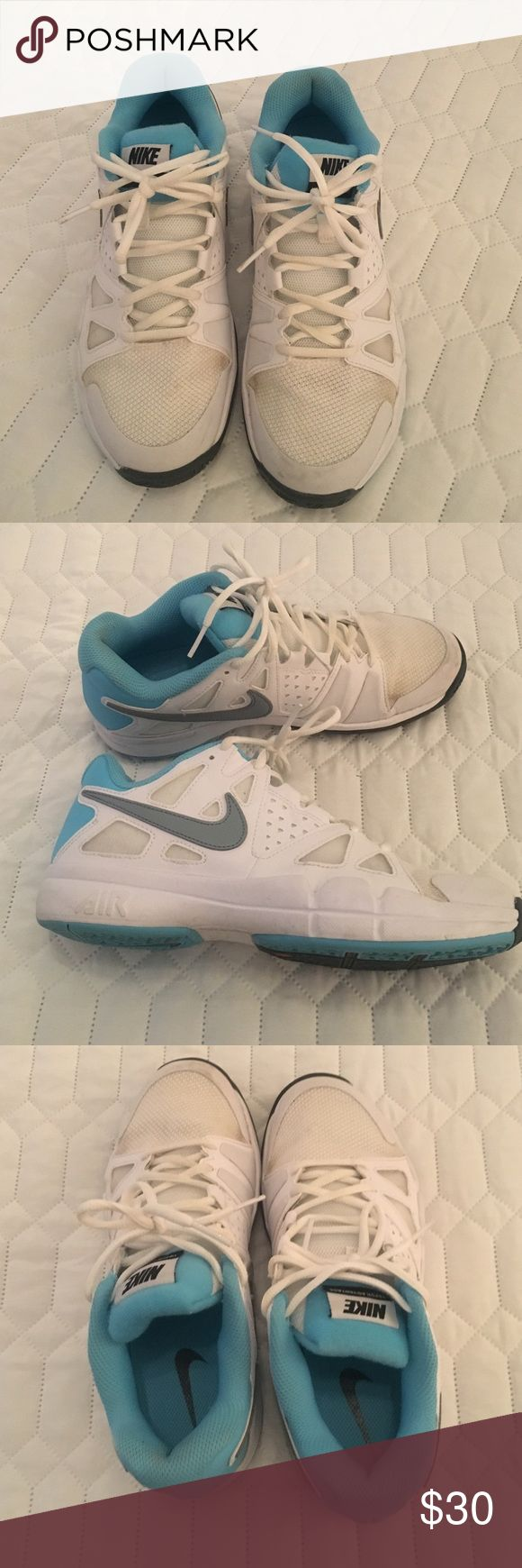 Nike Shoes Good shape only worn a handful of times. Not really my normal style. Gray swoosh on sides white with a teal color. Cute and comfy. 🤔 BUNDLE Nike Shoes Sneakers