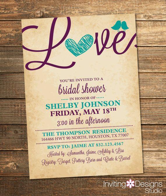 Bridal Shower Invitation, Love, Birds, Heart, Aqua, Purple, Teal, Rustic, Printable File (Custom order, INSTANT DOWNLOAD)