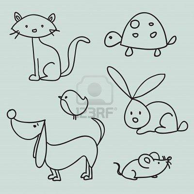 Hand gezeichnete Karikaturhaustiere – #cartoon #ge…