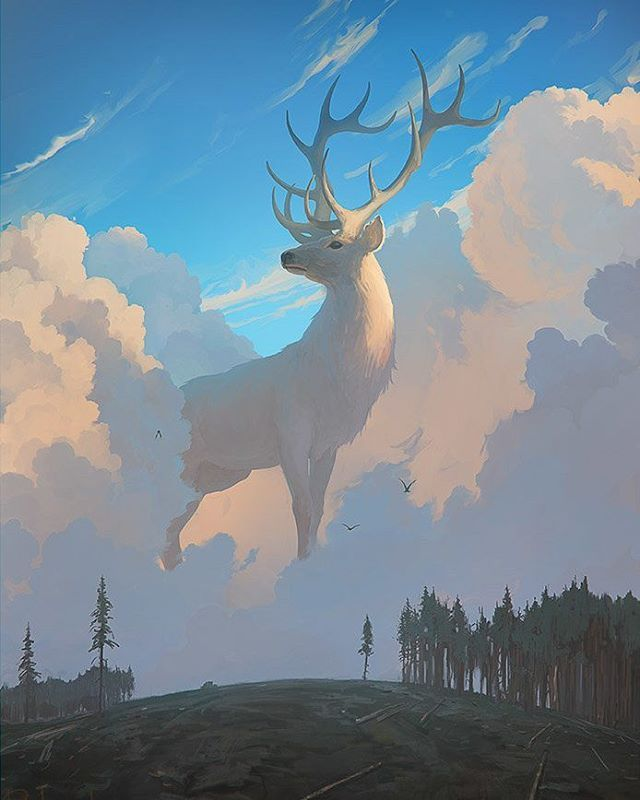 """Forest Spirit"" created by Artem RHADS Artist/Художник:@rhads001 #art #art_series #digitalart #арт #дух #леса #лес #олень #красиво #облака #деревья #рисунок #иллюстрация #рисовать #fantasy #fantasyart #painting #illustration #forest #spirit #beautiful #deer #trees #clouds #ArtemRHADS"