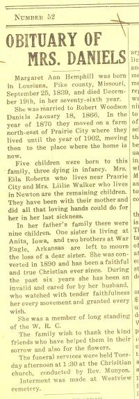 1915_1223 Margaret Ann Hemphill Daniel- Obituary. Prairie City News, Prairie City, Iowa, 23 Dec 1915.