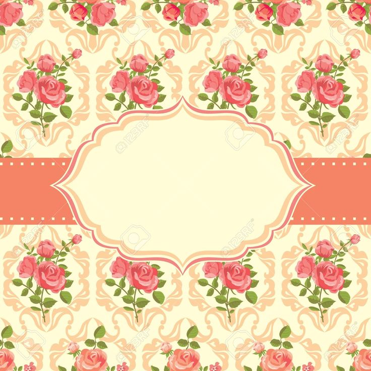 Vintage Card Romantic Background With Roses Royalty Free Cliparts ...