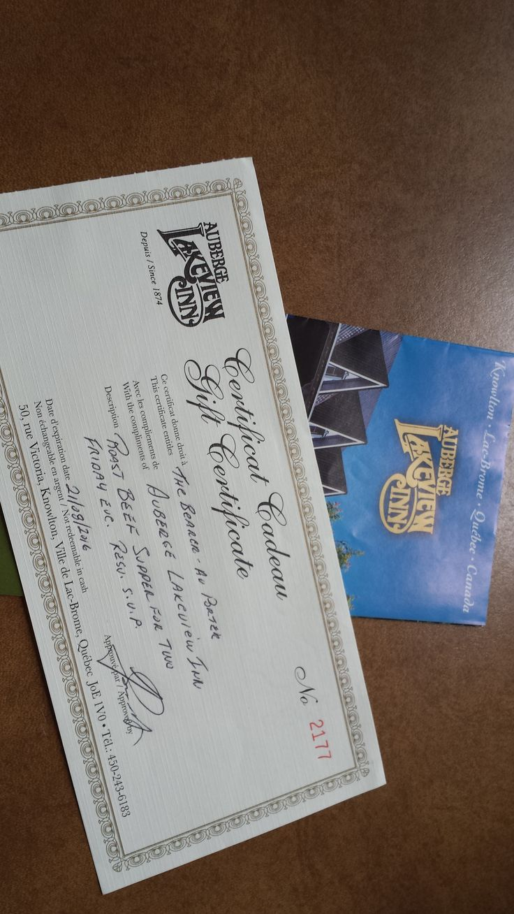 Gift Certificates from the Auberge Lakeview Inn for a Roast Beef Supper for 2