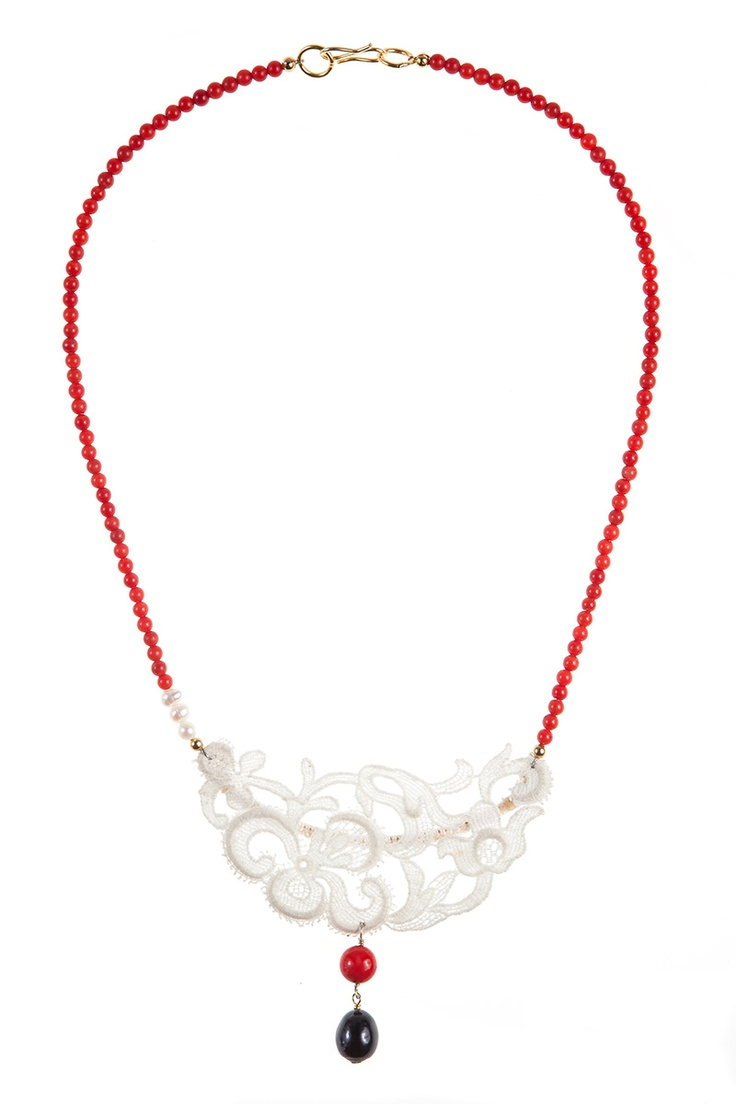 Lady Magpie - Romanian Designer  Vintage Lace, red coral