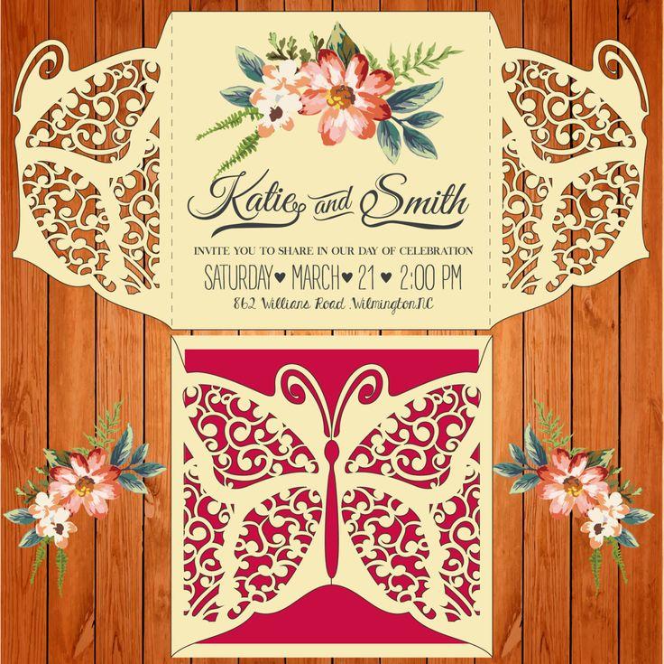 Invitación de la boda tarjeta plantilla, figuras, mariposa (studio V3, svg) lasercut descarga inmediata Silhouette Cameo, Circuit de thehousedesigns en Etsy