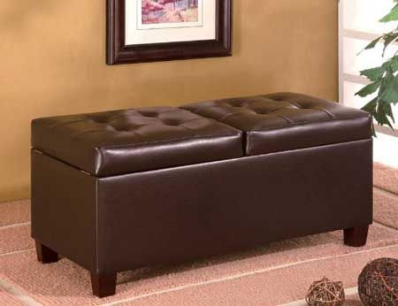 BLACK FRIDAY DEALS Brown Leather Ottoman with storage