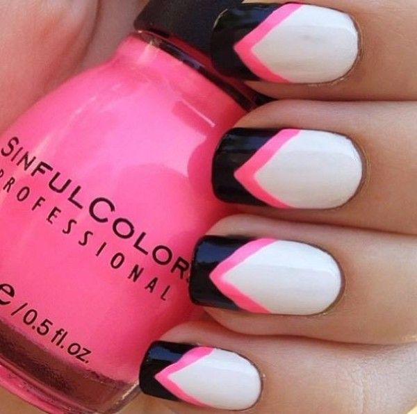 Nail Ideas: white, black, & pink chevron