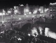 """Dublin in 1949 -  the night Ireland became a republic. """"The Republic of Ireland Act 1948 (No. 22 of 1948) was signed into law on 21 December 1948 and came into force on 18 April 1949, Easter Monday,[1][2] the 33rd anniversary of the beginning of the Easter Rising."""