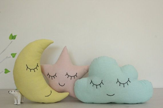 Set of three pillows - mint cloud, yellow moon and light coral star.  Fabric 100% cotton on both sides of the pillows and hypo allergenic hollow