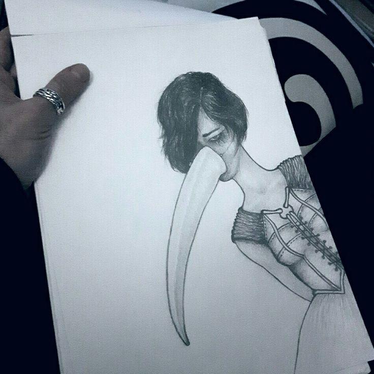 'the masks we wear...' pencil drawing  www.gurgel-segrillo.com/drawings.html #original #art