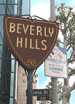 Beverly Hills Sign. Little Santa Monica Blvd. at Moreno Dr., CA
