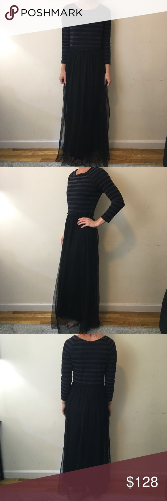 Free People Black Striped Velvet Maxi Tulle Dress Free People Dress with long sleeves and a boat like neckline- has a grey striped velvet like top and a black tulle bottom skirt lined and is super cute stretchy and can fit a medium also! Gorgeous and has been worn lightly has some wear on the inside could use a dry cleaning Free People Dresses Maxi