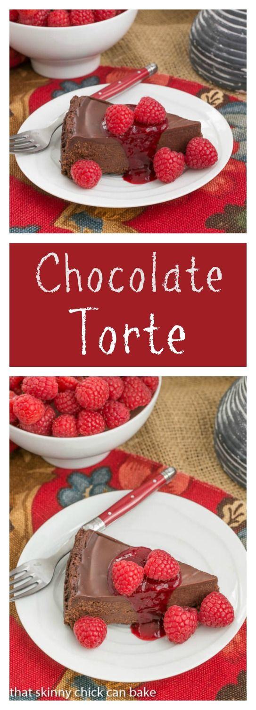 Chocolate Torte | A decadent flourless chocolate torte topped with ganache from thatskinnychickcanbake.com @lizzydo