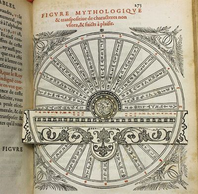 A rotating paper volvelle used as a cipher disc in Johannes Trithemius' cryptographic book Polygraphy, published Paris, 1561. This book was owned by John Dee.