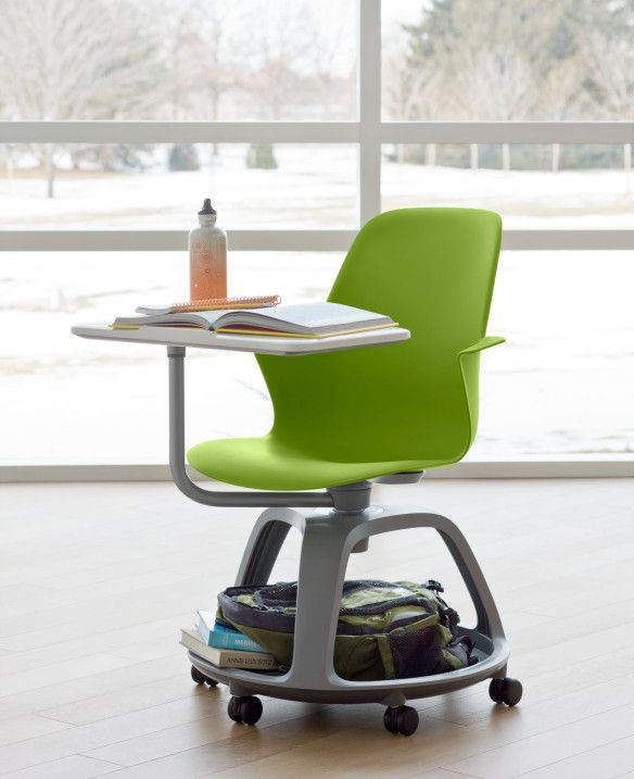Node Chair: storage base for backpacks, swivel desk for right/left handed students ( or to move it out of the way), tablet stand built into desk, on wheels for easy collaboration & movement. Available in 20+ colors! 21 Century Classroom furniture!