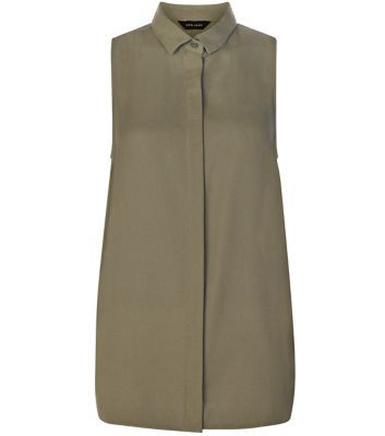 Khaki Sleeveless Side Split Shirt