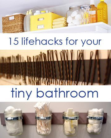 15 Lifehacks For Your Tiny Bathroom: my favorites: 1. Add a frame to your basic mirror. 2. Hang spice racks to organize your hair products and lotions. 4. Use small storage solutions to make it easier to find your stuff. 5. keep your bobby pins in check with magnets. 9. Use a stacked plate rack to make extra counter storage space. 15. Install multiple towel rods on the back of your door.