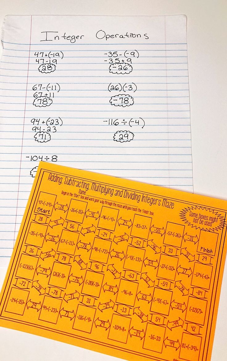 This Adding Subtracting Multiplying And Dividing Integers Maze Was The Perfect Worksheet To Help With Teac Integer Maze Integers Worksheet Dividing Integers [ 1170 x 736 Pixel ]