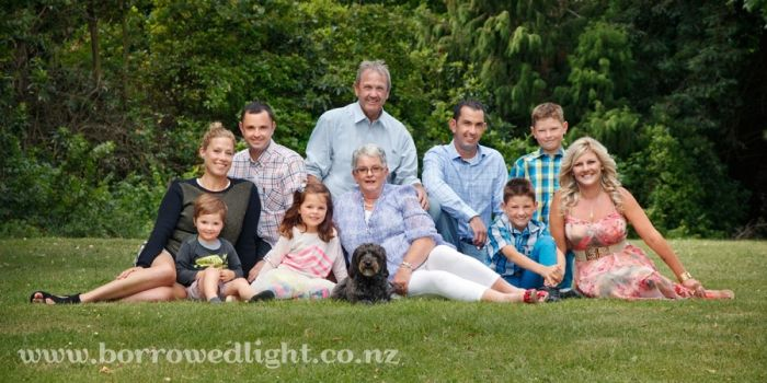 McW Family Portrait at Riccarton Park Racecourse, Christchurch.  Photographed by Rebecca Watson of Borrowed Light Photography Studio in Ashb...