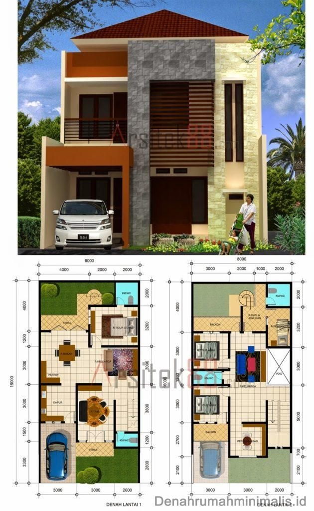Desain Rumah Minimalis 2 Lantai beserta denah 1