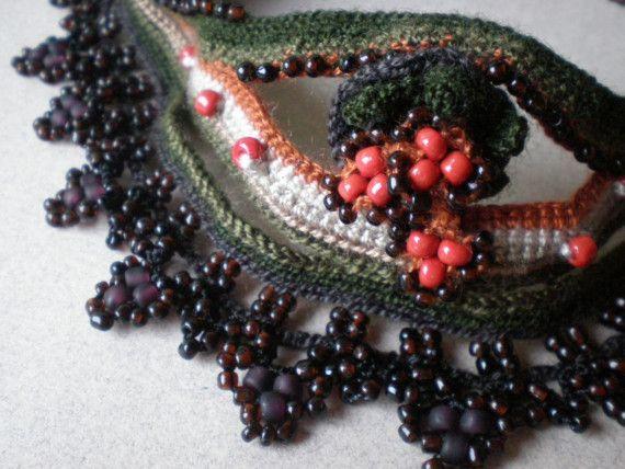 Vintage ... Freeform Crochet Necklace  (RESERVED)