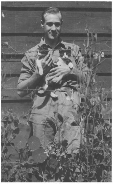 British POW Mark Jenner and cats in work camp 785 GW (Weissenbach an der Enns) or 2056 L (Gullinggraben)