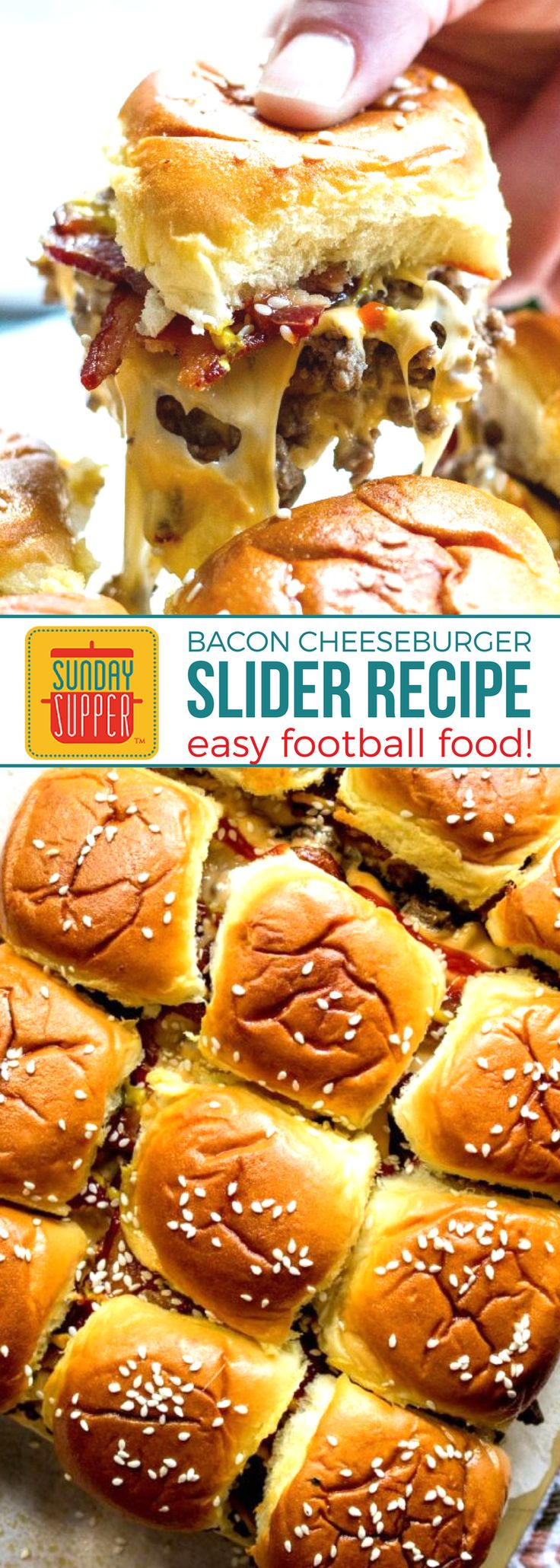 BACON CHEESEBURGER SLIDERS is the easy football food recipe YOU NEED right now! Smokey, salty bacon, gooey cheese, and a pickle on top will be your favorite half time snack! Baked in the oven for a deliciously easy way to feed a hungry crowd! Score big when you serve this cheesy appetizer recipe piled high with savory bacon and all of your favorite cheeseburger toppings to your game day crowd! #easyfootballfood #footballappetizers #gamedayrecipes #beefsliderrecipes