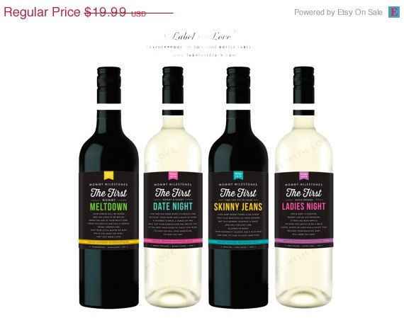 BLACK FRIDAY SALE New Parent Gift Wine Labels (Set of 4) Baby Shower Gift Wine New Mom Gift New Mommy Wine Labels Baby Shower Wine Weatherpr on Etsy, $16.99