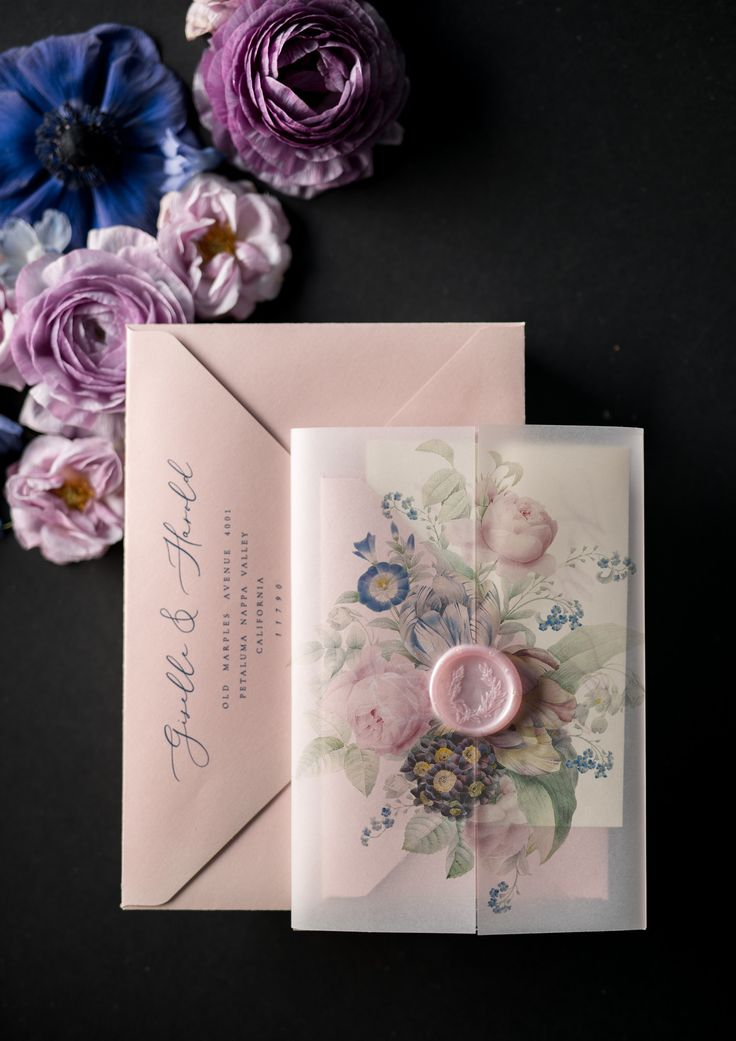 Vintage Wedding Invitations Transparent Stationery with Vellum and Wax Seal Blush Pink or Navy Blue Envelope 01/ACGN/z