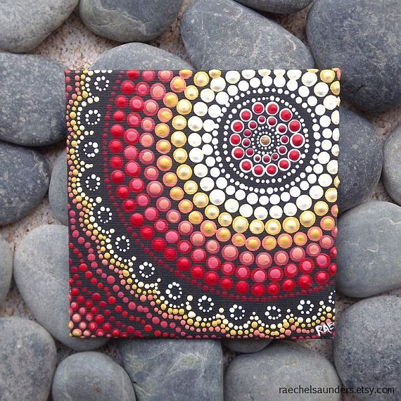 Design: Fire Colours: tones of red, yellow, and white. 〉〉 Artwork colour may slightly differ from screen image, in real life the colours are richer. (Please take note of the size) ~Measurements~ 10.2cm x 10.2cm or 4 x 4 SHIPPING: Within Australia : 3 - 7 days International: 2 - 4 weeks Air Mail This is an original artwork hand painted in acrylic paint on canvas board. The artwork has been coated with a protective spray after being signed by me, Biripi Artist - Raechel Saunders. A little ...