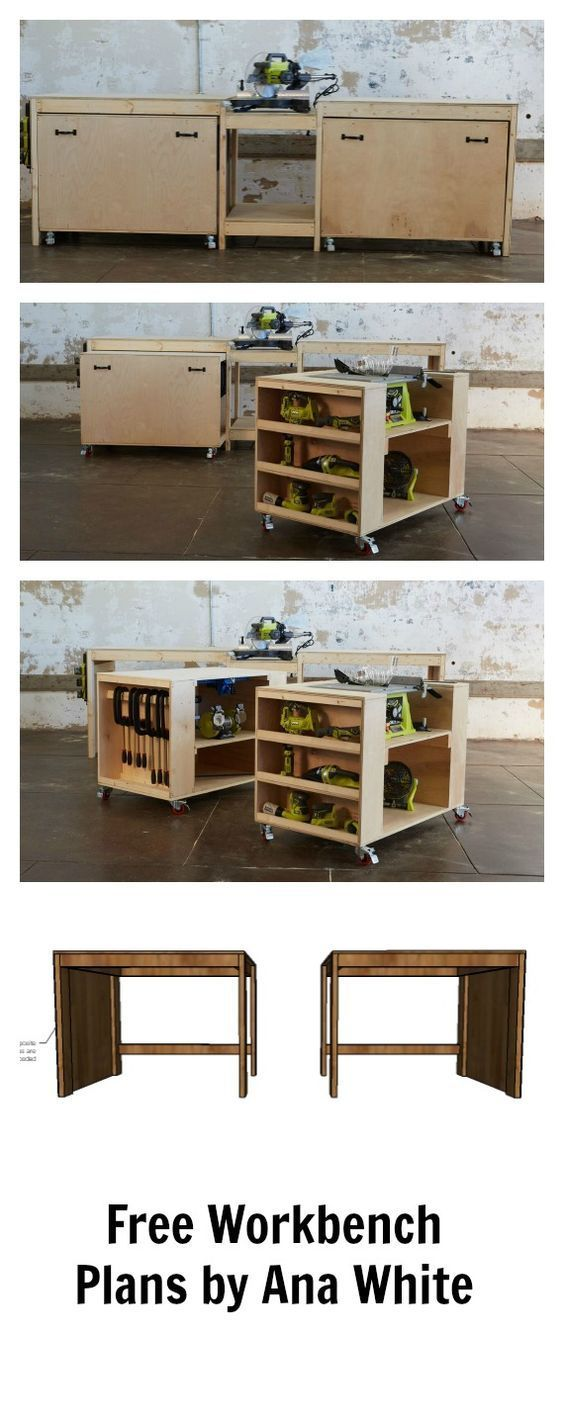Amazing easy roll away #diy workbench with built in mitersaw…