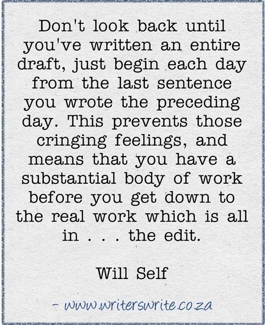 Don't look back until you've written an entire draft. Just begin each day from the last sentence you wrote the preceding day. This prevents those cringing feelings, and means you have a substantial body of work before you get down to the real work which is all in... the edit. #HowDoYouSelfPublishABook