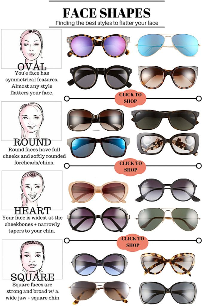 StylishPetite.com | How to find the best styles of sunglasses to flatter your face - click on the photo to shop sunglasses for each face shape!