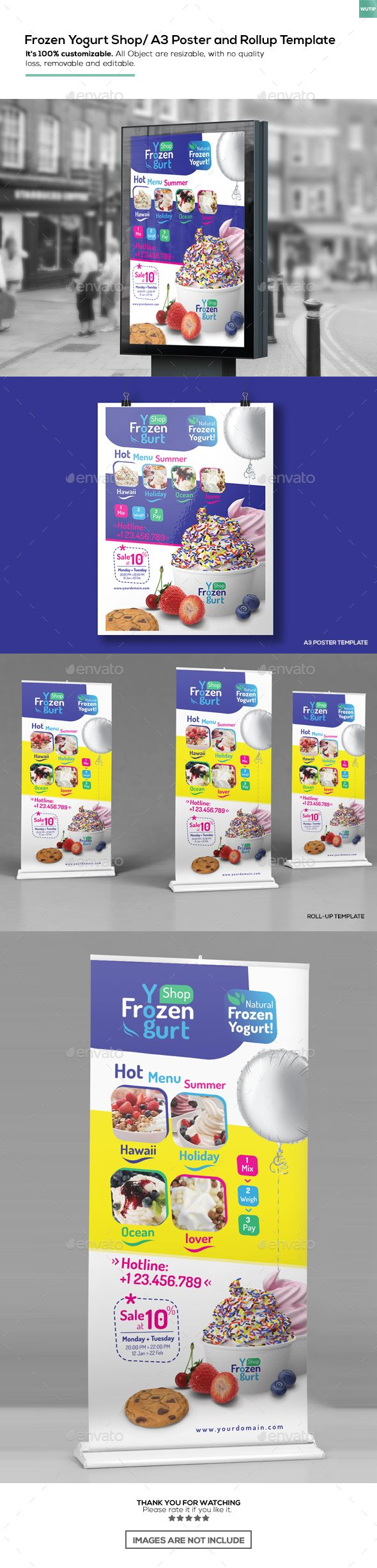 Frozen Yogurt Shop/ A3 Poster and Rollup Template PSD. Download here: graphicriv...
