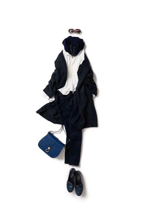 オールネイビーをゆったりとラフに着る 2015-10-30 | price :28,350 brand : HIGH-CLASS  | blouse brand : fio