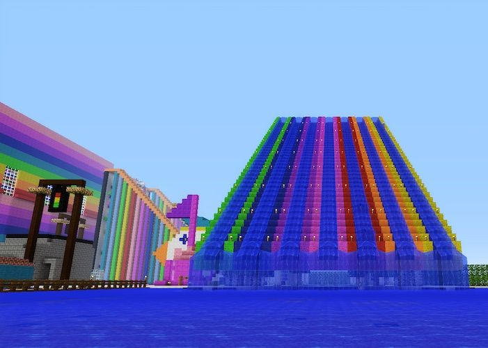 Minecraft Rainbow Waterslides Ride! Click on picture for info on how to make it yourself, or for more building ideas!