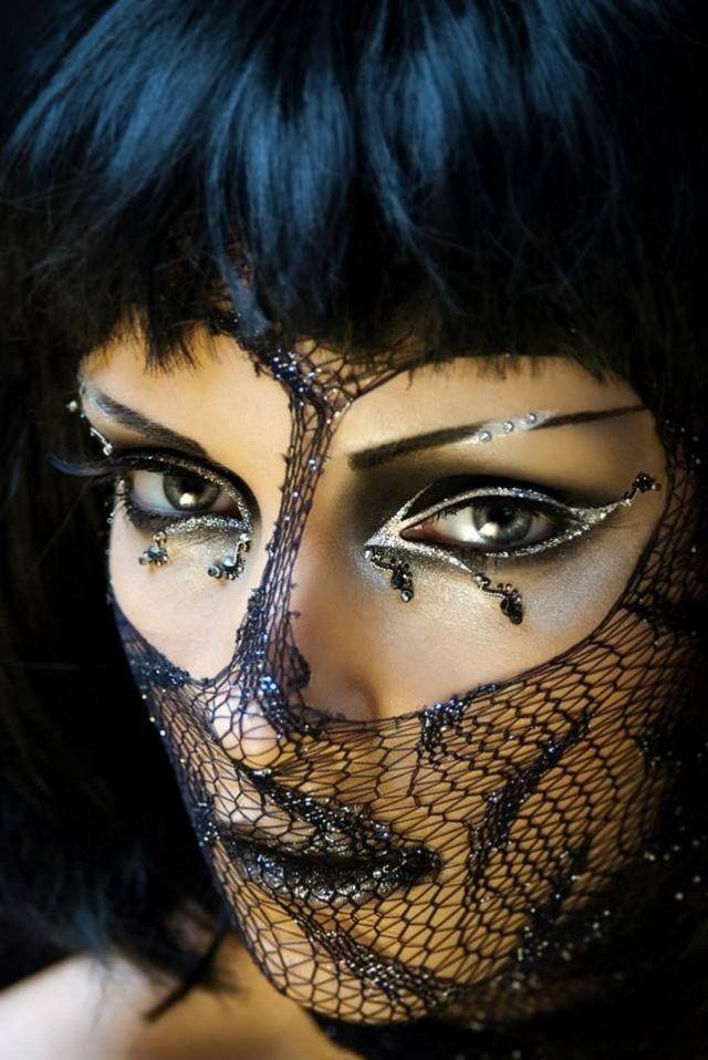 burlesque show-perücke-halloween kostüme und glitter-schminke