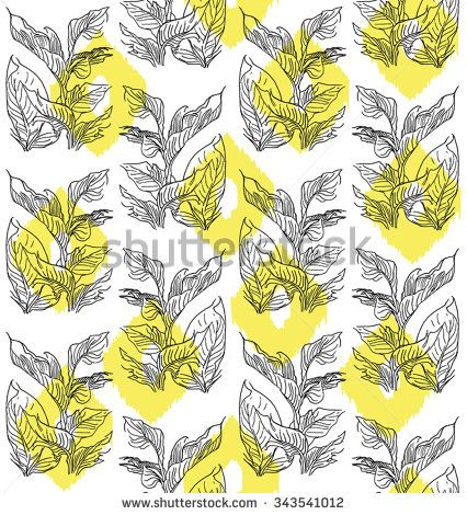 Vector Seamless Chess Pattern Leaves Plant with Yellow Dots - stock vector
