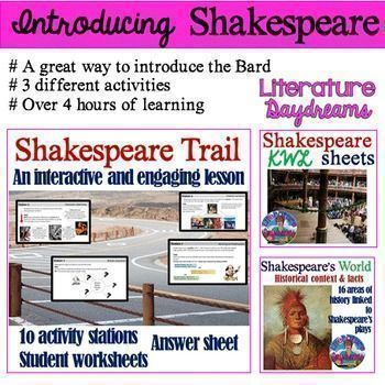 These activities makes a great introduction to any Shakespeare play or poetry unit.  3 different types of activities and learning resources to support your teaching of Shakespeare.   From a fun and active trail to search out information to key historical facts about Shakespeare's history and Elizabethan / Jacobean England.