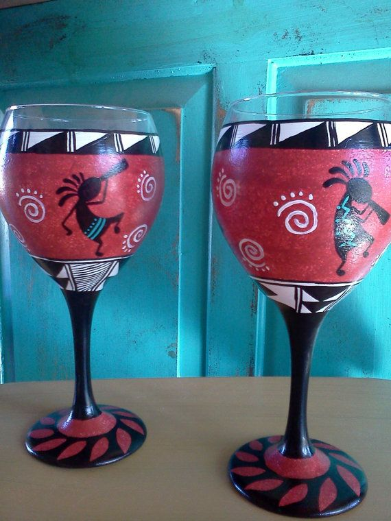 Hand painted Wine Glasses, Southwestern, Pottery Inspired, New Mexico Style, Kokopelli, Matching Pair, Brick Red Color