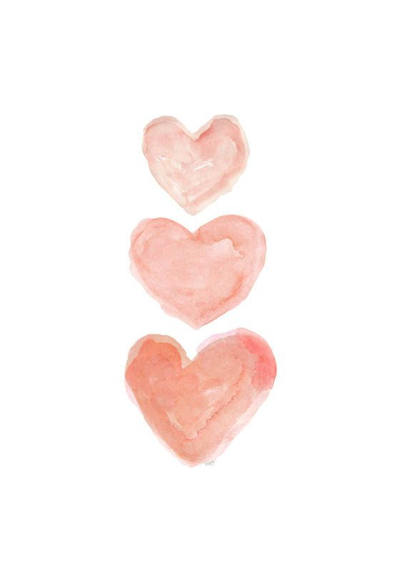 Coral Nursery Art Watercolor Heart Art 5x7 by OutsideInArtStudio, $12.00