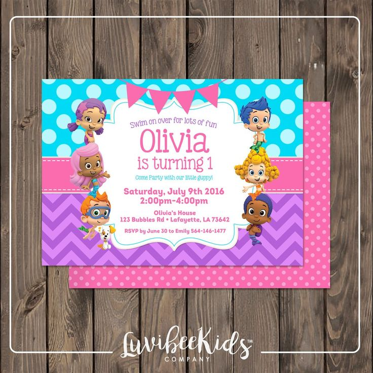 Bubble Guppies Invitation | Pink Blue & Purple - Design for Girls –…